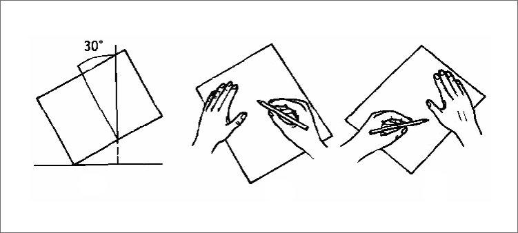 правильное-положение-листа-бумаги-на-столе