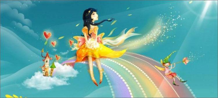девочка-сидит-на-радуге
