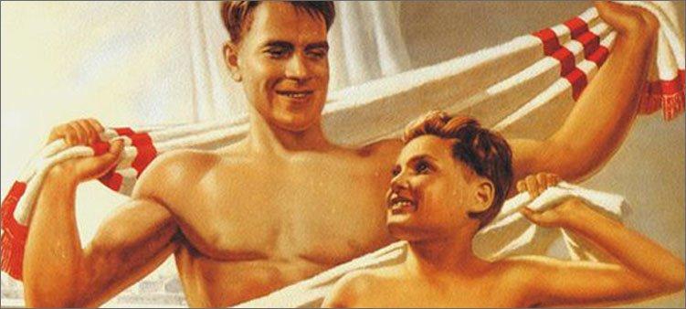 папа-и-сын-обтираются-полотенцами