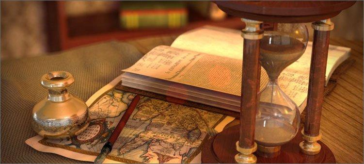 песочные-часы-на-фоне-книги-и-карты