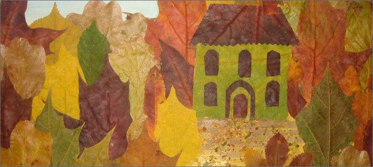 картина-из-листьев-лес