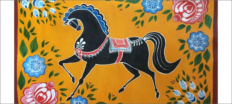 конь-в-городецкой-росписи