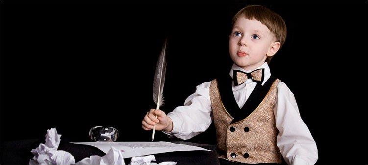 мальчик-пишет-пером