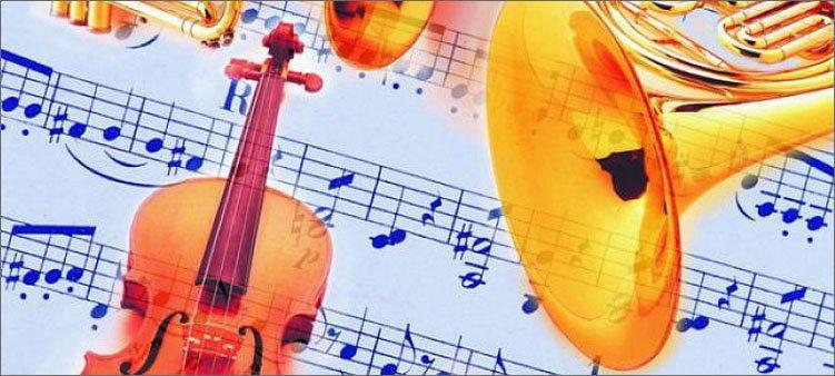 музыкальные-инструменты-на-фоне-нот