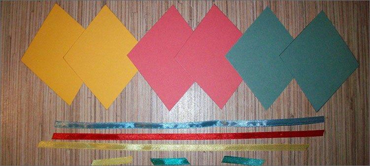 ромбы-из-картона-и-цветные-ленты