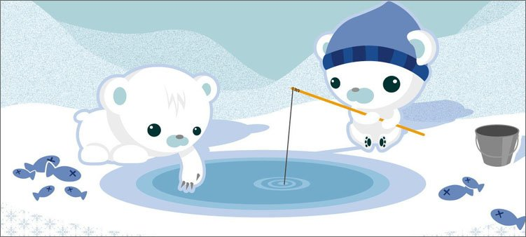 мультяшные-медвежата-ловят-рыбу