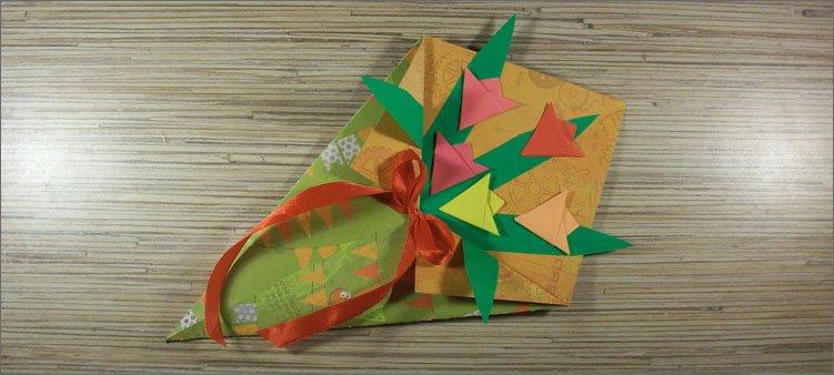оригами-букет-тюльпанов