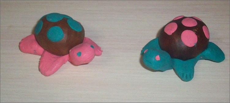 черепашки-из-каштанов-и-пластилина