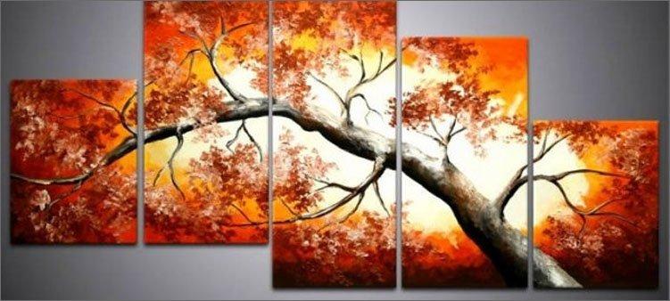 картина-полиптих-красное-дерево