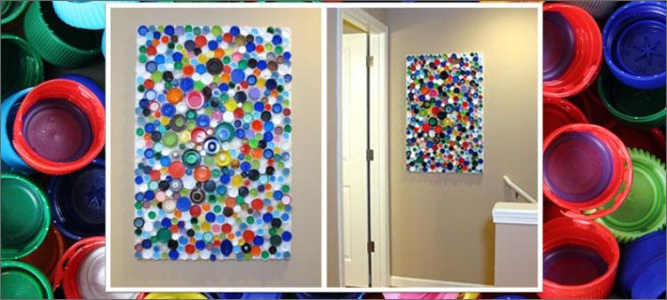 картина-на-стене-из-крышек-от-пластиковых-бутылок
