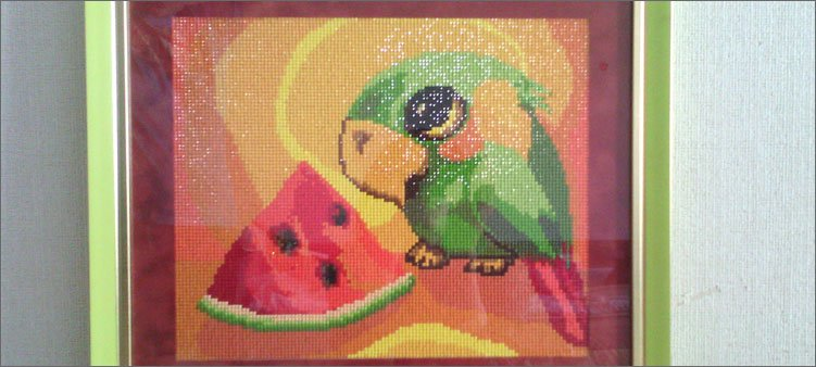 картина-из-страз-попугай