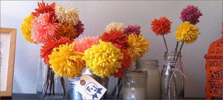 цветы-из-веток-и-помпонов