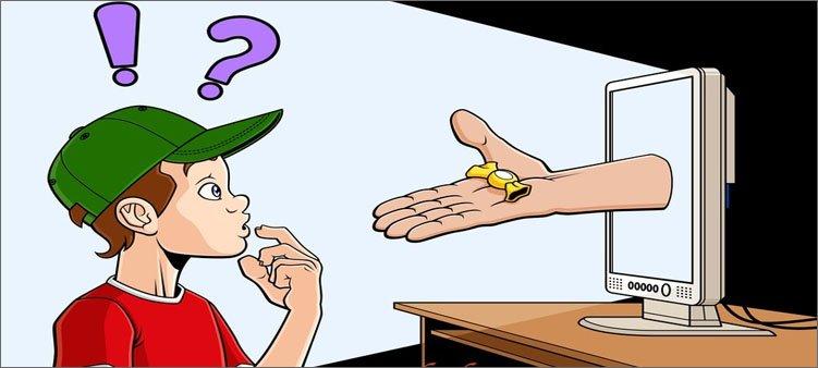 из-монитора-к-ребенку-тянется-рука-с-конфетой