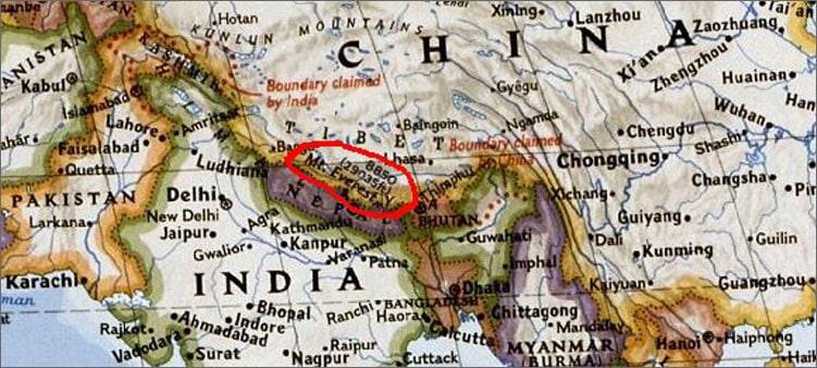 эверест-на-карте
